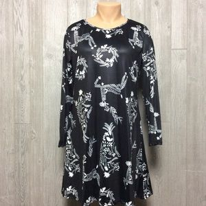 Black and White Print Stretch Dress PLUS SIZE 3X